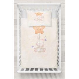 Bej Yıldızlı Sevimli Tavşan Desenli Beşik Bebek Odası Nevresim Takımı