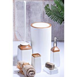 Else 5 Parça Beyaz Fitilli Kahve Ahşap Seramik Modern Banyo Seti
