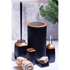 Else 5 Parça Siyah Fitilli Kahve Ahşap Seramik Modern Banyo Seti