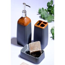 Else 3 Parça Füme Fitilli Kahve Ahşap Seramik Modern Banyo Seti