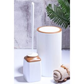 Else 2 Parça Beyaz Fitilli Kahve Ahşap Seramik Modern Banyo Seti