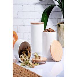 Else Bambu Kapaklı 3 Lü Beyaz Porselen Kavanoz Baharat Saklama Kabı