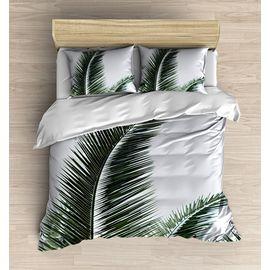 Yeşil Beyaz Palmiye Yapraklı 3d Desenli Çift Kişilik Nevresim Takımı