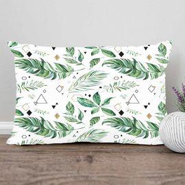 Yeşil Beyaz Yapraklar 3d Desenli Dikdörtgen Kırlent Kılıfı