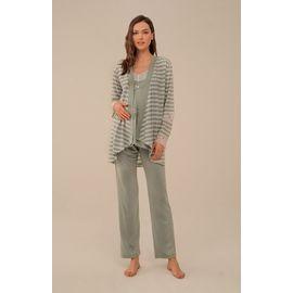 4117 Yeşil Kalın Çizgili Yaka Detay Sabahlıklı Lohusa Pijama Takım