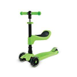 Flt-199 Çocuk Scooter 2in1 Yeşil - Oturaklı Katlanır Led Işıklı, Renk : Yeşil