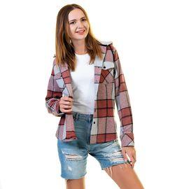 Bordo Gri Kareli Kadın Kapüşonlu Cepli Oduncu Gömlek, Renk : Bordo, Beden : S