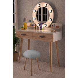 Pırıltı Kulis Işılkı Puflu Makyaj Masası Şifonyer