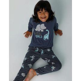 Dino Baskılı Erkek Çocuk Pijama - 11552, Renk : Mavi, Beden : 10-11 Yaş