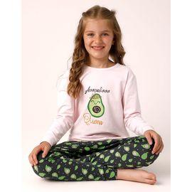 Avakado Baskılı Kız Çocuk Pijama - 10104, Renk : Pembe, Beden : 14-15 Yaş