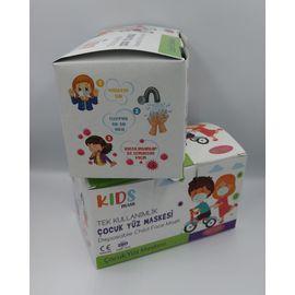 Baskılı Desenli Çocuk Maske 100 adet + Sürpriz Hediye