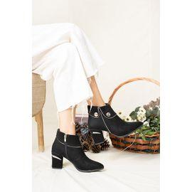 Ruby St Süet Su Geçirmez Kadın Topuklu Bot Siyah, Renk : Siyah-Süet-ST, Numara: 37