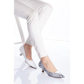 Sheila Bt Cilt Yılan Desenli Topuklu Kadın Ayakkabı Beyaz, Renk : Beyaz-Desenli-BT, Numara: 38