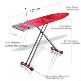 Yüksekliği Ayarlanabilir Ütü Sehpalı Kablo Tutuculu Ütü Masası