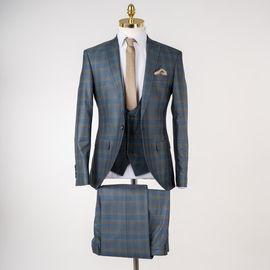 Luigi Diberti Ekoseli Regular Fit Erkek Takım Elbise, Beden: 46-6 Drop
