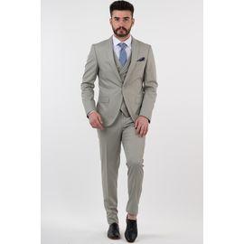 Erkek Yelekli Slimfit Takım Elbise, Beden: 52-6 Drop, Renk : AÇIK YEŞİL