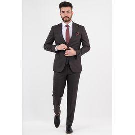 Erkek Yelekli Takım Elbise, Beden: 48-6 Drop, Renk : Koyu Bordo