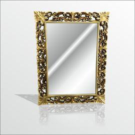 Altın Yaldız Varak Rustik İşlemeli Boy Banyo Duvar Salon Aynası