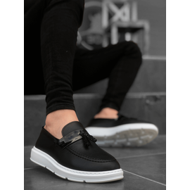 Mp0005 Bt Bağcıksız Parlak Kuşaklı Püsküllü Erkek Klasik Ayakkabı Siyah, Renk : Siyah-Kşkl-Pskll-BT, Numara: 43