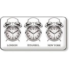 Çoklu Saat Resepsiyon Karşılama Otel Ofis  3lü Dünya Saati