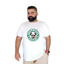 Baskılı Bearbucks Büyük Beden Pamuklu T-shirt Music Panda 3xl 4xl 5xl 6xl 7xl, Beden : 5XL, Renk : Beyaz