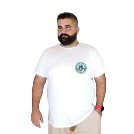 Unisex Beyaz  Baskılı Bearbucks Büyük Beden Pamuklu T-Shirt, Beden : 7XL, Renk : Beyaz