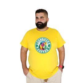 Baskılı Bearbucks Büyük Beden Pamuklu T-shirt Lion 3xl 4xl 5xl 6xl 7xl, Beden : 5XL, Renk : Sarı
