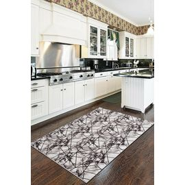 Mutfak Halısı Makinede Yıkanabilir 1055 Siyah, Ebat: 80 x 550, Renk : Siyah