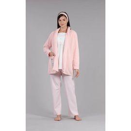 Lohusa Kadın Pembe Polar Kışlık Yumuşak Düğmeli Hamile Lohusa Sabahlık Pijama Takımı 3'lü Set 4005, Beden (anne): M