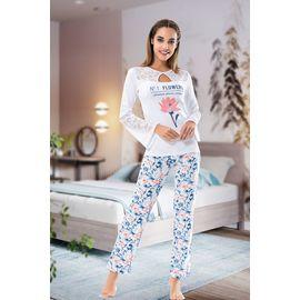Uzun Kol Dantelli Kadın Pijama Takım Rnldry001115, Beden: L-XL, Renk : Görsel Rengi