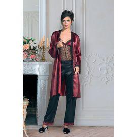 Kadın Bordo Dantelli Pijama Takım 3'lü 2000, Beden: L, Renk : Bordo