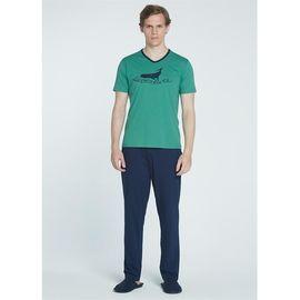 Erkek Pamuklu O Yaka Pijama Takım Yeşil E160, Beden: L, Renk : Yeşil
