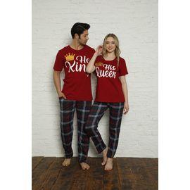 Erkek Kısa Kol Pijama Takımı Bordo 9204, Beden: XXL, Renk : Bordo