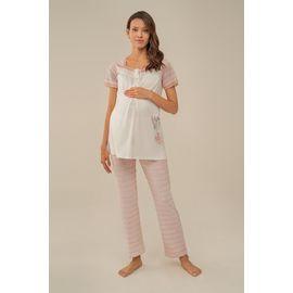 Kadın Çizgi Desen Nakış Detaylı Lohusa Pijama Takım, Beden (anne): L, Renk : Pembe
