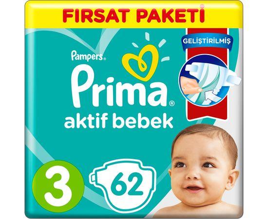 Prima Bebek Bezi Aktif Bebek 3 Beden 6-10 KG 62 Adet